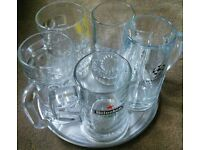 5 x Large Branded Beer Mugs/ Tankards/ Glasses.
