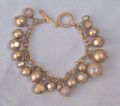 VINTAGE GOLD MULTI BEAD GOLD PLATED CHAIN BEADED BRACELET