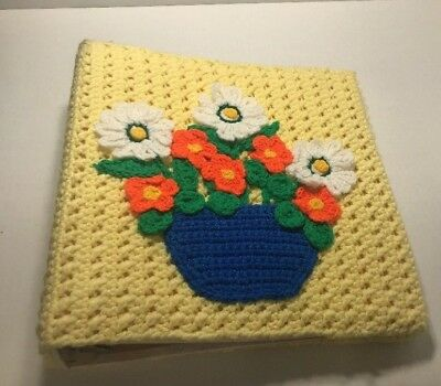 3 ring binder unique Handmade Crocheted Flowers Crafts School Notebook Vintage ()