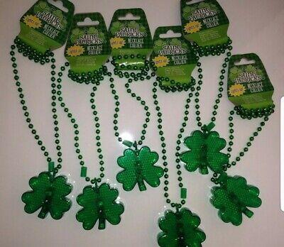 St Patrick's Day Party (6pc St. Patrick's Day Light Up Shamrock Bead Necklace Party Favor Green)