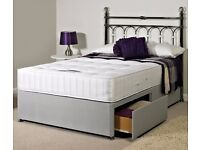King size divan bed with four drawers (silver colour without mattress and headboard )