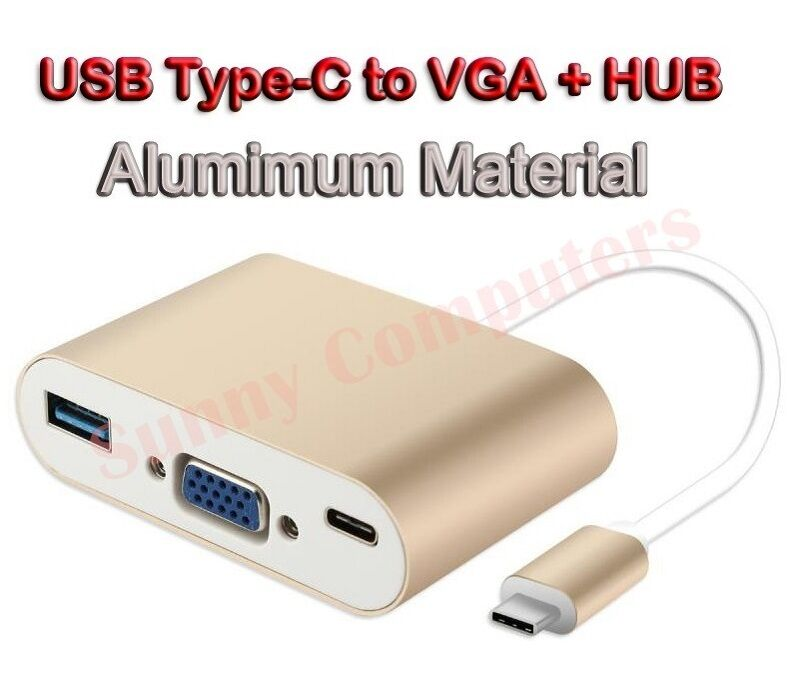 USB 3.1 Type-C to VGA USB3.0 USB-C OTG Charger HUB Adapter F