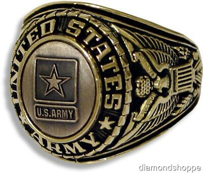 UNITED STATES ARMY SIGNET WITH CAST BRONZE INSIGNIA RING 18K GOLD (GP) & RHODIUM