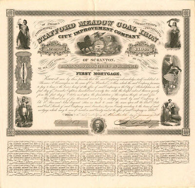 Stafford Meadow Coal Iron and City Improvement Company - $100 Bond](Party City Stafford)
