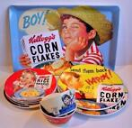 Lot of nine Kellog's Corn flakes items - Porcelain and