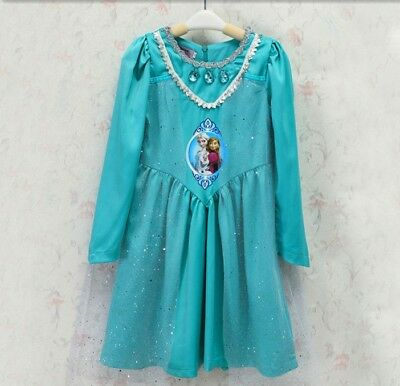 Frozen Long Sleeve Queen Elsa Princess Anna Costume Cosplay Party Dress Up O59