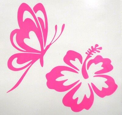 Butterfly & Hibiscus Flower Car Window Vinyl Decal Sticker CHOOSE 12 colors!