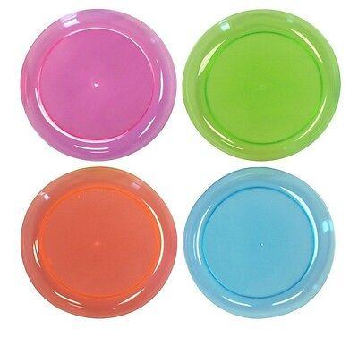 Neon Plastic Dessert Plates Assorted 40 Colorful Plates, Reusable Party, Wedding
