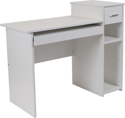Computer Desk With Shelves And Drawer In White Laminated Finish