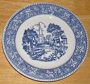 (2)Vintage Shakespeare Country Bread Plates Blue Transferware Church Village