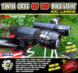 Cree-Q5-LED-bike-cycle-zoomable-twin-front-torch-head-light-set-FREE-back-light