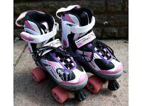 Adjustable quad roller skates size 1-3