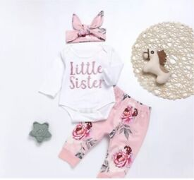 UK Newborn Baby Girl Little Sister Outfit With Headband