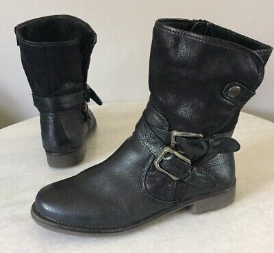 3413bb5d305cd Bare Traps Sabella Mid-Calf Boots Black Leather Women Size 7 M for sale  Woodbury