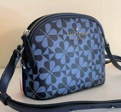 Kate Spade Dome Crossbody Bag ~ Hollie Spade Clover Geo Denim Blue Leather -