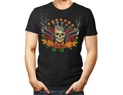 Skull, Guns and Roses N Tee unisex T Shirt Band Rock Music black gift women men