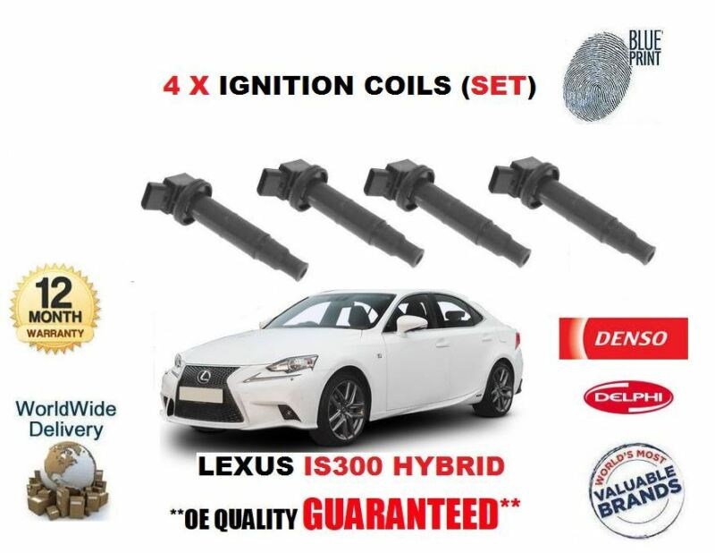 FOR LEXUS IS300 HYBRID 2013-> NEW 4 X IGNITION COIL PENCIL TYPE FULL SET