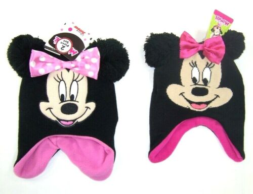 Disney Minnie Mouse Toddler Girls Knit Hat & Mitten Set NWT Black One Size 2T-4T