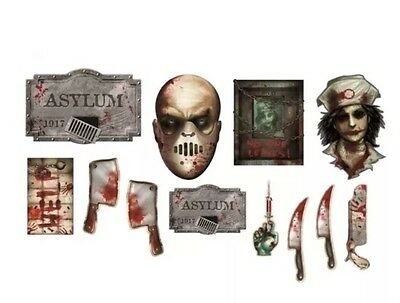 Halloween Party Wall/Decoration/Prop~12pc Insane Asylum  DECORATING KIT NEW - Insane Asylum Props