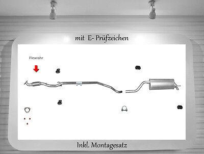 Auspuffanlage Opel Corsa D 1.2 Auspuff Mittelrohr Endtopf Flexrohr Montagesatz  online kaufen