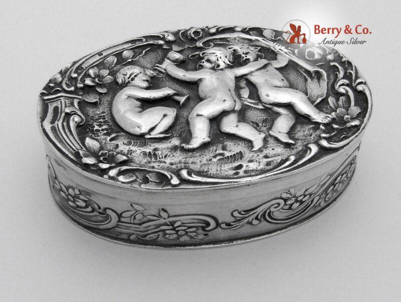 Figural Dancing Cherub Pill Box Oval Large 800 Silver 1900