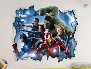 Marvel avengers 3d look wall vinyl sticker poster childrens bedroom mural ebay - Poster mural 3d ...