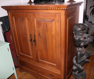Pine armoire 44 x 26 x 54H Yvon Basilieres pocket doors drawer