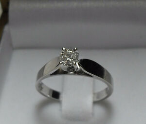 """14k white gold .50ct """"Solitaire"""" Diamond Engagement Ring -Size 6"""