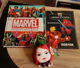 Marvel Bundle ~ Encyclopedia, Origin Stories Book, Black Widow Plush