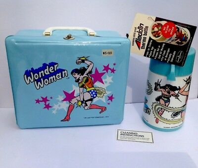 Rare Mint 1977 Wonder Woman Vinyl Lunch Kit W Thermos  Instructions   Tags