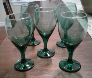 Set of 5 Green Wine Glasses