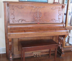 Moving-Spectacular Solid Cherry, Antique Bell Upright Piano