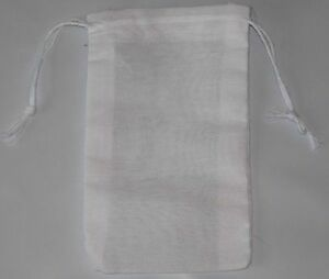100 (3.25x5) White Cotton Muslin Double Drawstring Bags Made in ...