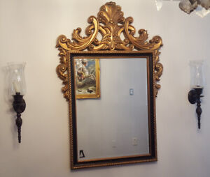 Grand Gold Mirror with 2 Sconces