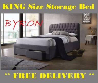 BRAND NEW King Size Bed Frame With STORAGE DRAWERS FREE DELIVERY