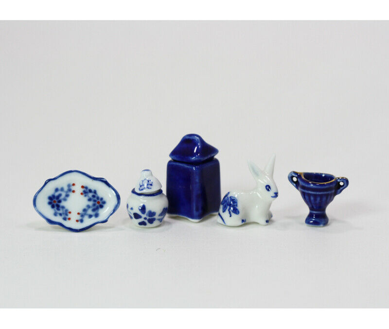Dollhouse Miniature Blue and White Ceramic Collection A