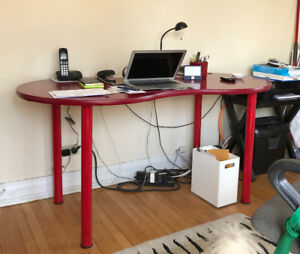 IKEA red, kidney shaped desk $100.00