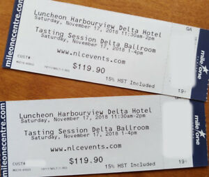2 tickets to Wine Show and Luncheon with Wine Pairing !