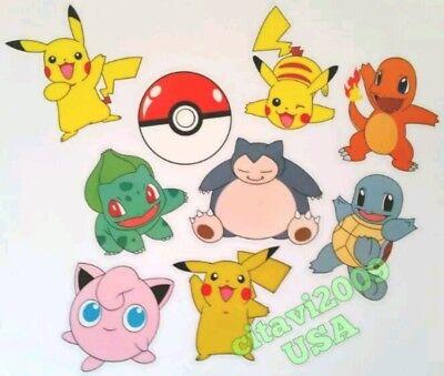 NEW POKEMON PIKACHU TRANSLUCENT STICKER SET 9PCS WINDOW CAR STICKER PARTY FAVOR ](Pokemon Stickers)