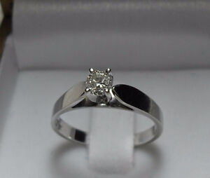 """14kt white gold .50ct """"Solitaire"""" Diamond Engagement Ring-Size 6"""