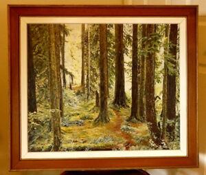 Original oil painting - lovely forest scene