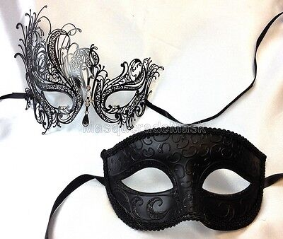 Couple Masquerade Mask pair Costume Steampunk School Prom Wedding Bachelor Party