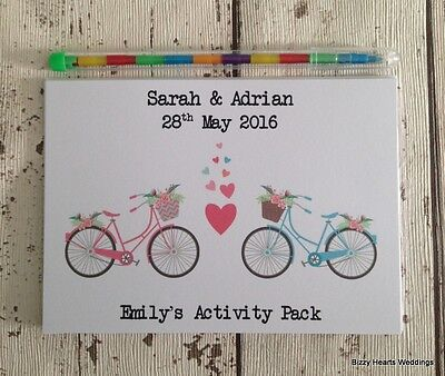 CHILDRENS PERSONALISED A6 WEDDING ACTIVITY PACK BOOK BAG PARTY GIFT FAVOUR BIKES