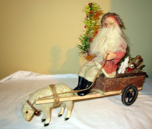 2 Antique Santa Claus/Carriage-sheep,Goose feater tree,glass bird ...Germany