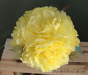 Yellow Coffee Filter Peony in Teal Tin Watering Can/Spring Decor Belleville Belleville Area image 2