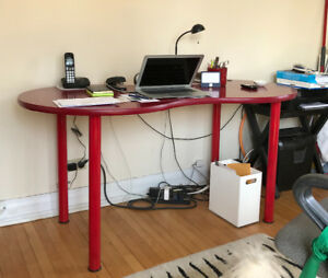 IKEA desk, red, kidney shaped. $100