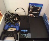 ***PS4, Black, 500G, 2 controllers with Mortal Kombat X***