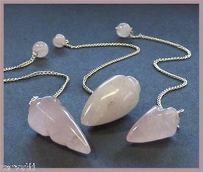 Rose Quartz Pendulum (1) One with Silver Colored Chain & Stone Handle