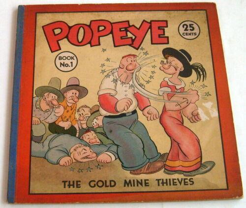 Popeye Book #1, Gold Mine Thieves, Elzie Segar, 1935, RARE, VG/FN