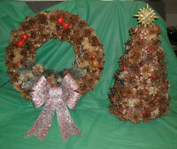 Pine Cone Lit Christmas Tree & Wreath set